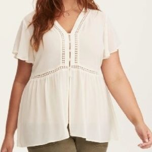 Torrid Chiffon Lace Up Back Blouse